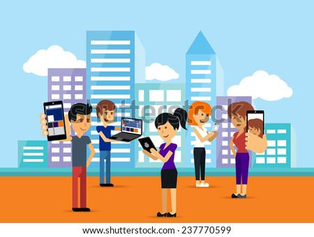 Young people man and woman using technology gadget smartphone mobile phone tablet pc laptop computer in social network communication concept on city town background flat design cartoon. Raster version - stock photo