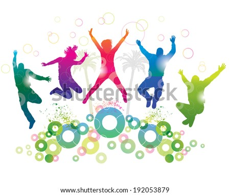 Young people on holiday. Detailed silhouettes of dancing teenagers. Concept background.  - stock photo
