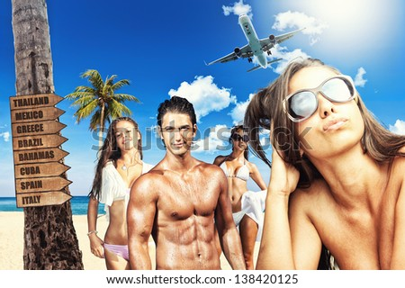 Young people on the beach Travel concept - stock photo