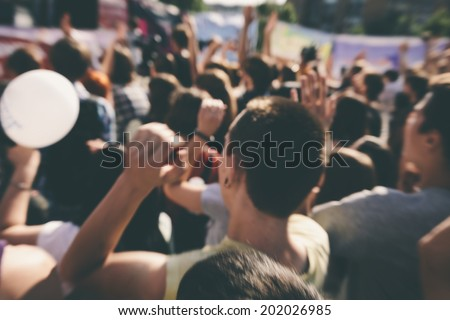 young people on the rock concert - stock photo