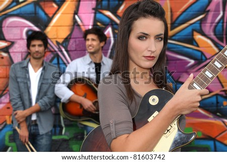 young people playing music - stock photo