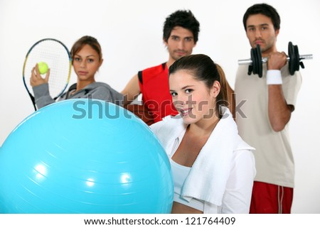 young people practicing different sports - stock photo