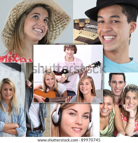 young people smiling and playing guitar, listening music or posing - stock photo