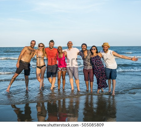Young People Standing Near Sea Concept
