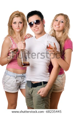 Young people with a bottle of whiskey. Isolated