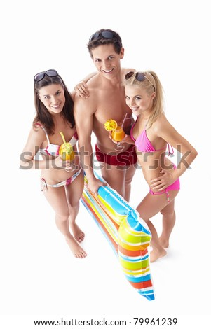Young people with a cocktail on a white background - stock photo