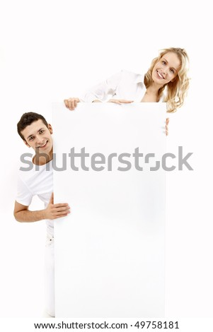 Young people with a pure board on a white background - stock photo