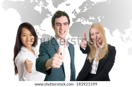 young people with business professionals shaking hands - stock photo