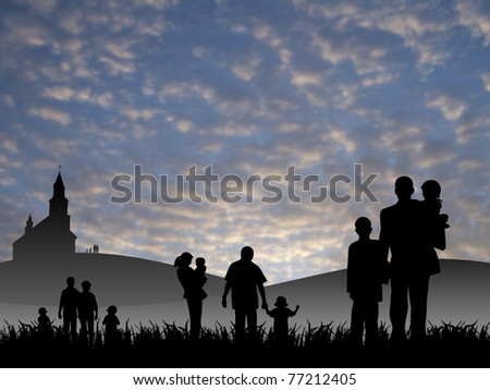 young people with children going to church - stock photo