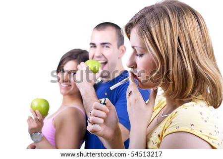 young people with healthy and unhealthy choices - stock photo