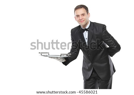 Young person holding a tray isolated on white background
