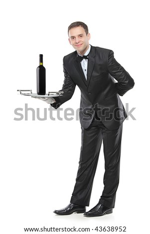 Young person holding a tray with a red wine on it, isolated on white background