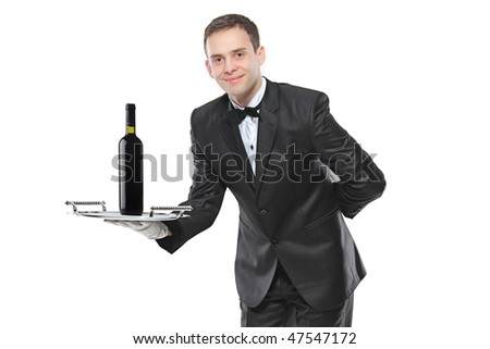 Young person holding a tray with a red wine on it isolated on white background