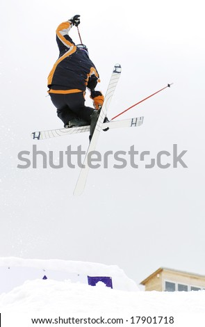 Young person in the snow-park at the health resort - stock photo