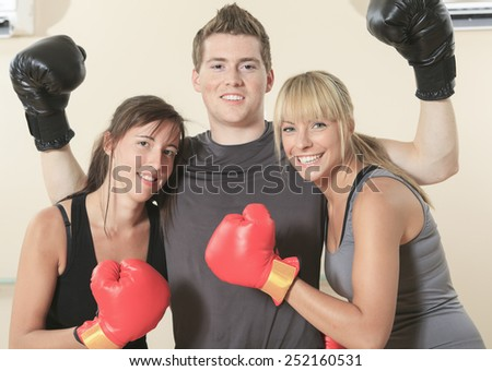 Young person posing during fitness and boxing