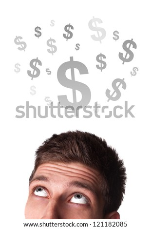 Young persons head looking at business icons and images - stock photo