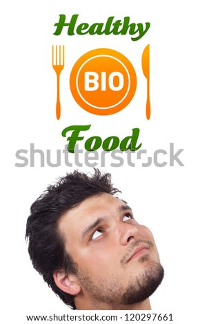 Young persons head looking with gesture at healthy food sign