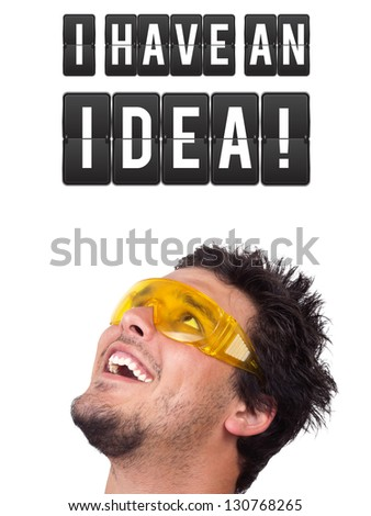Young persons head looking with gesture at idea type of sign