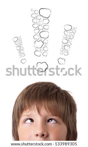 Young persons head looking with gesture at writing marks - stock photo