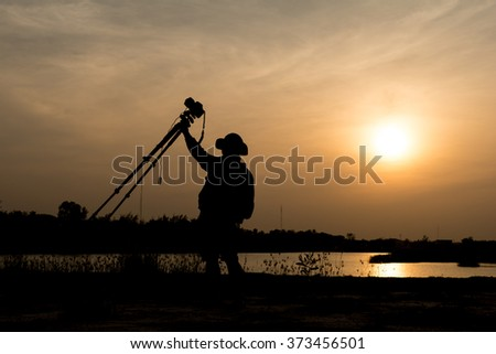 Young Photographer Camera Shooting Sunset Sunrise Concept