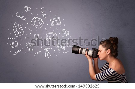 Young photographer girl shooting photography icons - stock photo