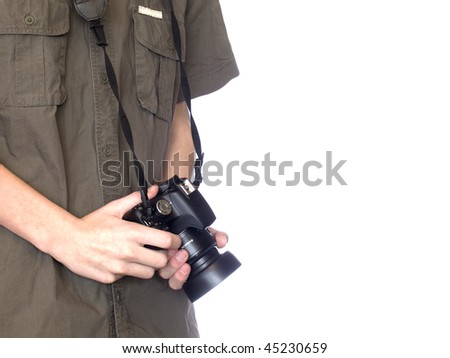 young photographer on white isolated background