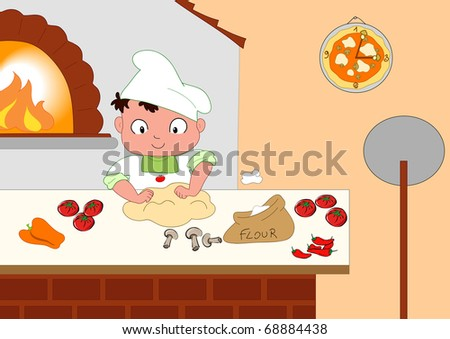 Young pizza maker in his kitchen. - stock photo