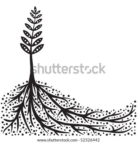 Young Plant With Strong Roots Background (in the gallery also available vector version of this image)