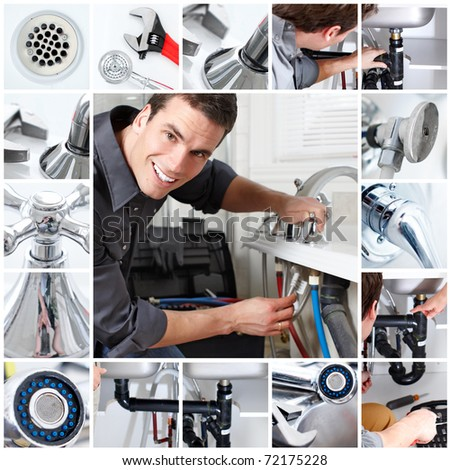 Young plumber fixing a bath - stock photo