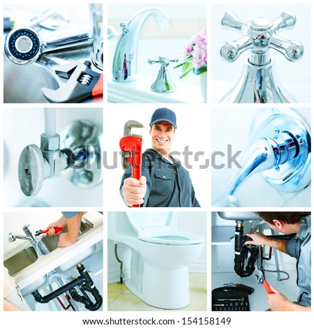 Young plumber with ajustable wrench collage background. - stock photo