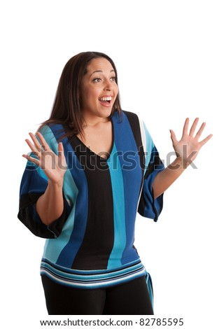 Young Plus Size Female Model Gesture on Isolated Background - stock photo