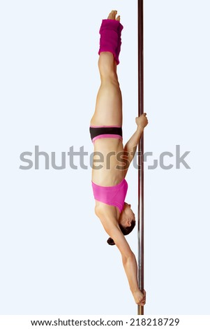 Young pole dance sexy woman - stock photo