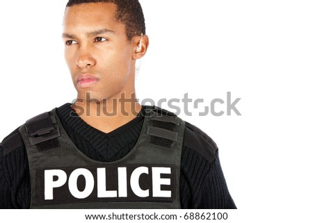 Young police officer - stock photo
