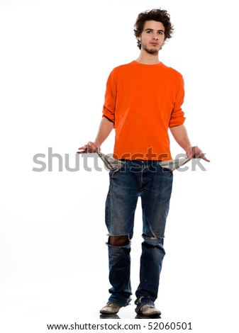 young poor caucasian man portrait in studio on white background - stock photo