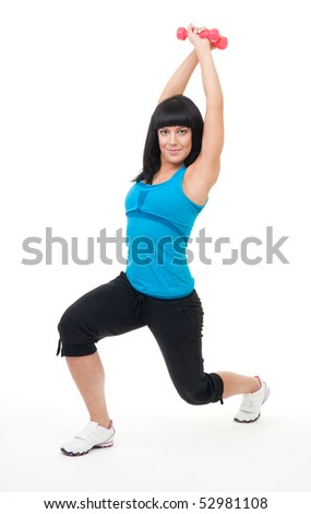 Young positive woman exercise with dumbbells, isolated on white