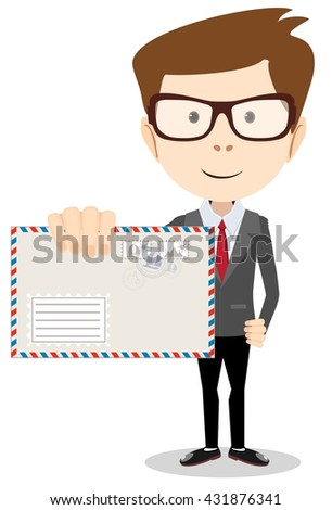 Young Postman brought you a letter. Isolated on white background. Stock illustration - stock photo