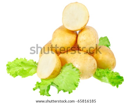 Young potatoes, decorating of lettuce . Isolated over white