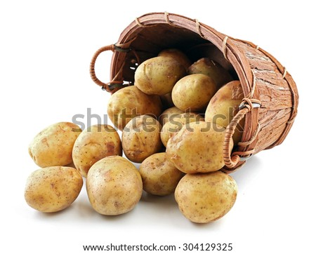 Young potatoes in basket isolated on white - stock photo