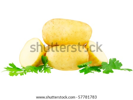 Young potatos , decorating of parsley. Isolated over white