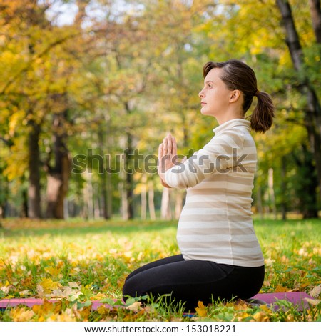 Young pregnant woman meditating outside in beautiful autumn nature - stock photo