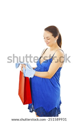 Young pregnant woman with romper.  Isolated on white background  - stock photo