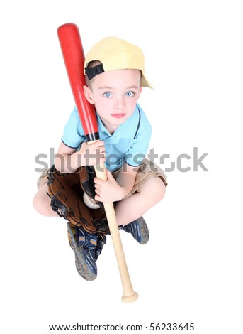 Young preschool boy holding bat in studio on white background - stock photo