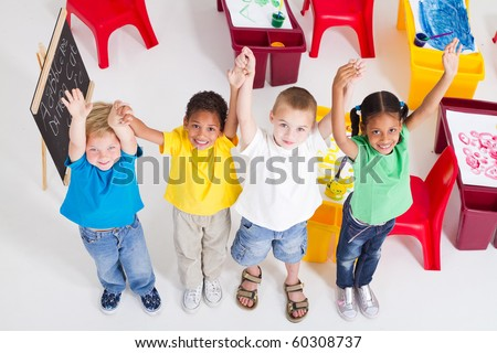 young preschool children in classroom - stock photo
