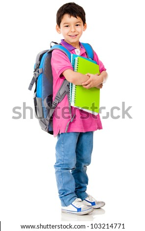 Young preschool student carrying backpack and notebooks - isolated over white - stock photo