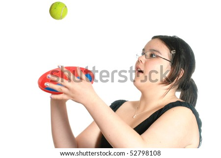 Young preteen girl playing catch with a Hook and Loop Fastener mitt and ball, isolated against a white background.