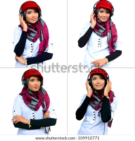 young pretty Asian muslim business woman in head scarf young pretty Asian muslim college girl with listen to music against white background - stock photo