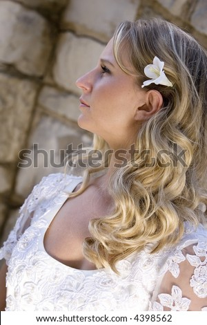 Young pretty blond bridal portraits