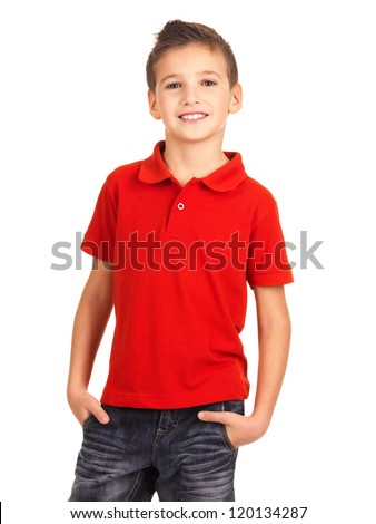 Young pretty boy posing at studio as a fashion model. Photo of preschooler 8 years old over white background