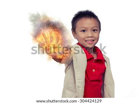 Young pretty boy posing at studio as a fashion model white background,Asian little boy giving you thumbs up,Halloween theme - stock photo