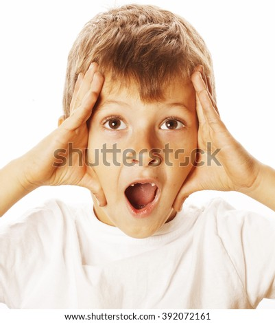 young pretty boy wondering face isolated gesture close up - stock photo